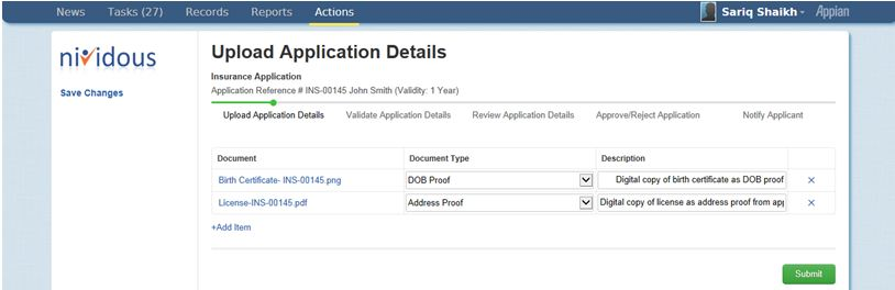 Appian BPM and Nividous Upload application Details form