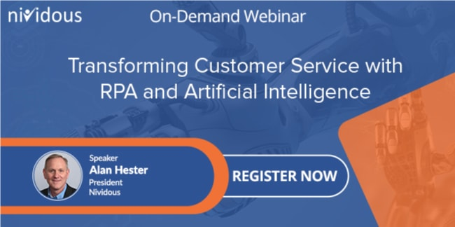 On demand webinar on Transforming Customer Service with RPA and Artificial Intelligence