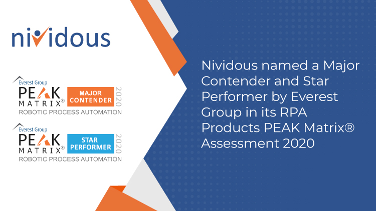 Everest Group Names Nividous a Major Contender and Star Performer in RPA Products PEAK Matrix® Assessment 2020-fv1